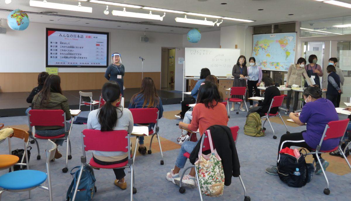 「日本語サロン」:コロナウィルス感染予防策をとり、開講しました。<br />